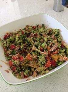 Orange tuna broccoli Asian salad
