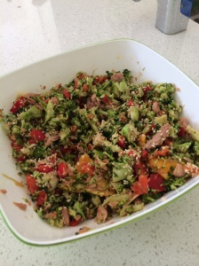 Orange tuna broccoli Asian salad