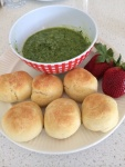Soft butter rolls and pesto