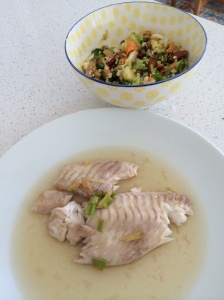 Steamed fish with ginger, spring onion and sesame soy dressing