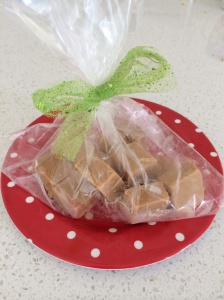 Caramel fudge wrapped and ready