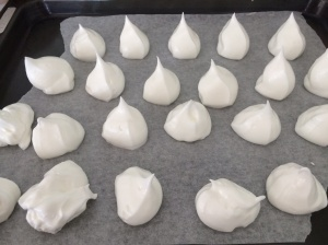 Meringues piped and ready for oven