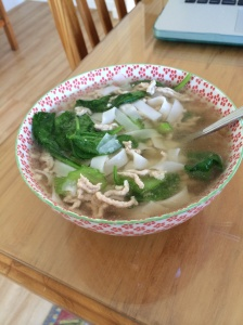 Pork and vegetable rice noodle soup