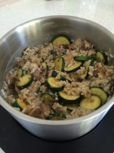 Mushroom and corgette risotto