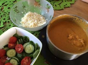 Butter chicken cauliflower rice and steamed rice