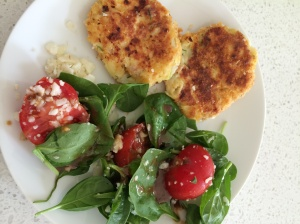 Croquettes and leftover salad