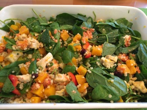 Warm chicken pumpkin and cous cous salad