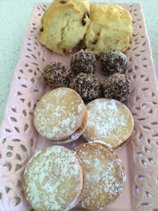 Shortbread, bliss balls and scones for dessert