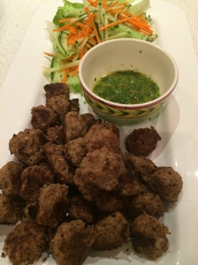 Middle Eastern meatballs and coriander sauce