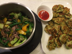 Thai fish cakes and stir fried vegetables