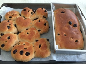 Raisin buns and raisin loaf