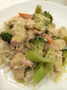 Chicken and cashews with coconut sauce and coconut rice