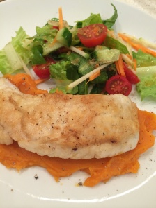 Pan fried snapper with kumara mash and thai salad