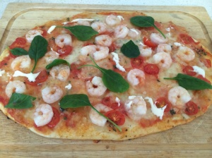 Prawn, garlic and aoli pizza
